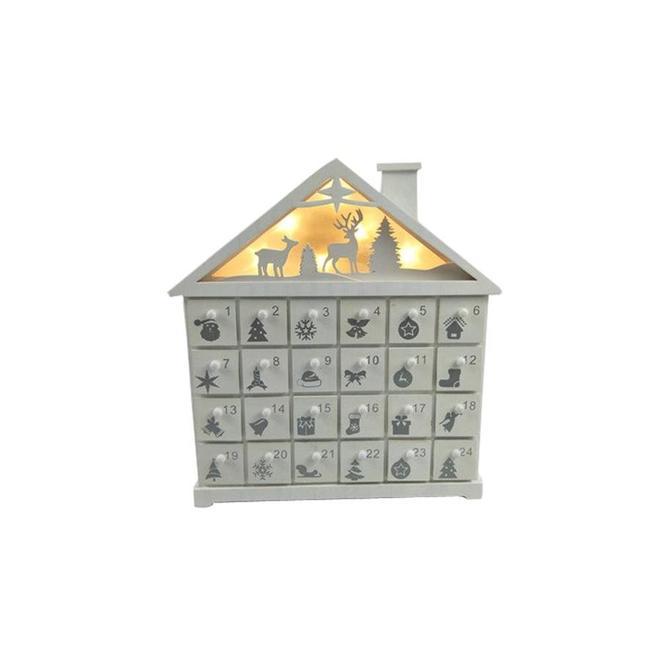 Calendrier de l'avent Holiday Living, maison de bois, DEL, 11 po x