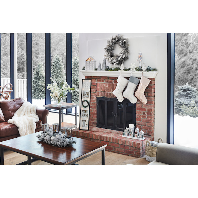 Holiday Living Christmas Wooden House Advent Calendar - LED - 11-in x 2.7-in x 12.2-in - Grey