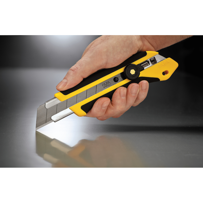 Olfa XH-1 Utility Knife with UltraSharp Black Blade - 25-mm - Rubber and Fibreglass - Black and Yellow