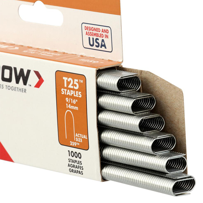 """Round Crown Staples for Wiring - T25(TM) - 9/16"""" - 1000PK"""