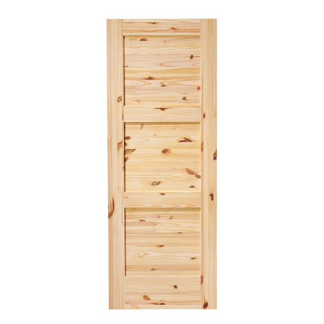 "3-Panel Pine French Door 30"" x 80"" - Natural"