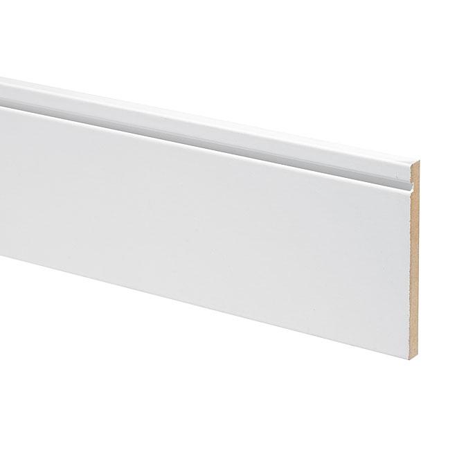 "MDF Contemporary Baseboard - 1/2"" x 5"" x 16' - Primed"