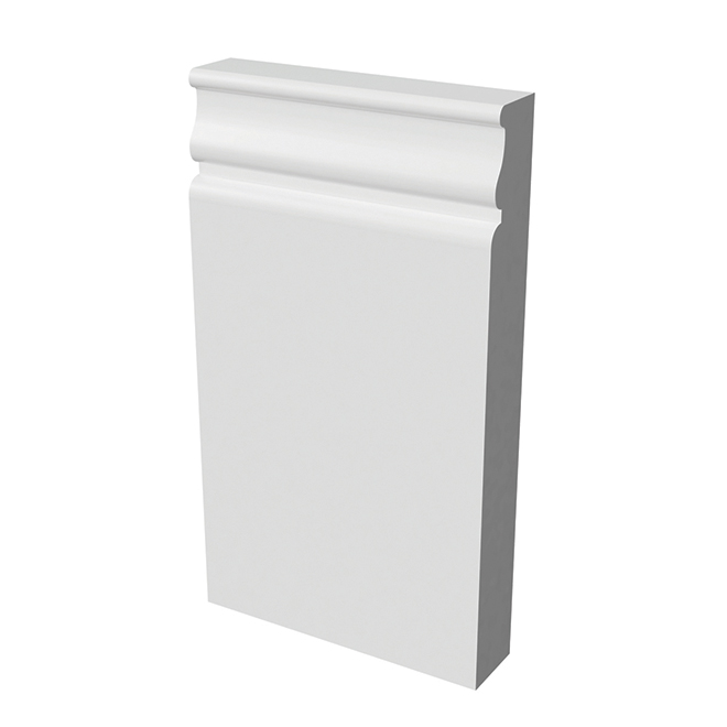"""Socle de plinthe en bois dur apprêté, 1"""" x 4,5"""" x 8"""", blanc"""