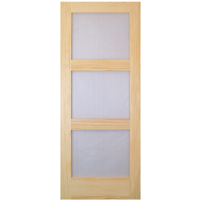 Metrie French Door - 3-Panel Frosted Glass - Natural Pine - 32-in W x 80-in H