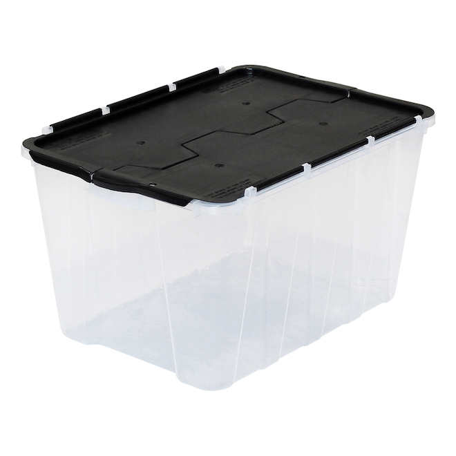 GSC Technology - Flip-Top Storage Bin - 49 L - 21 x 15 x 12-in - Plastic - Clear and Black