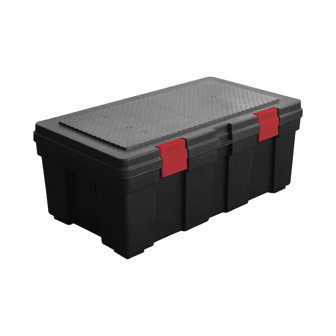 GSC Technology - Storage Tote - 33 x 19 x 13-in - 118 L - Plastic - Black and Red