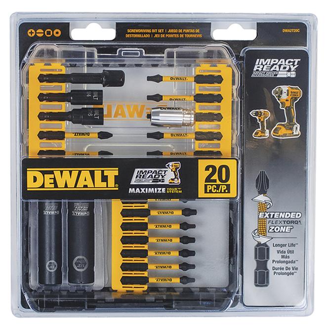 DeWalt Impact Ready 20-Piece Screwdriver Bit Set - Hex Shank - Magnetic Screw Lock - Hard Case