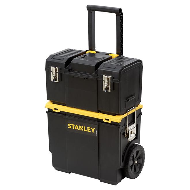 """Boîte à outils sur roues, 3 bacs, poignée télescopique, 18"""""""