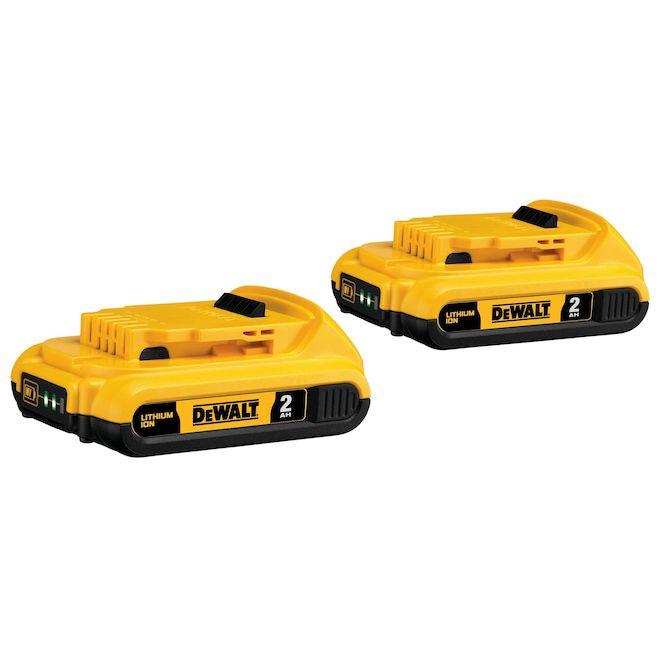 Batteries lithium-ion compactes DeWalt XR 20 V Max 2Ah, indicateur de charge à 3 DEL, pas d'autodécharge, 2 par paquet