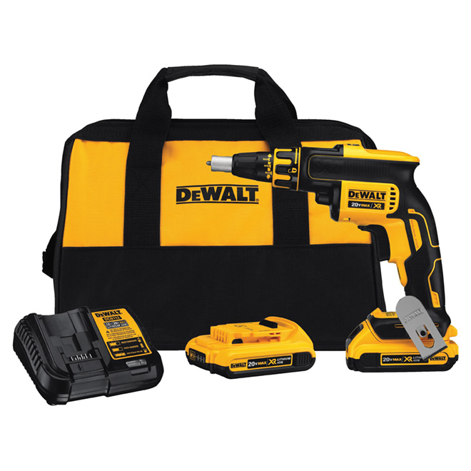 "Drywall Screwgun Kit - Cordless - 1/4"" - 20 V MAX, Yellow/Black"