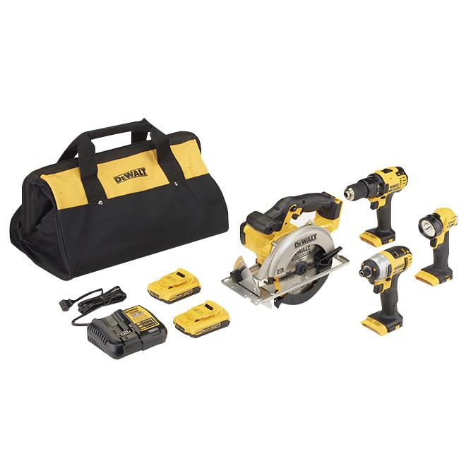Ensemble de 4 outils sans fil, 20 V, jaune/noir
