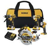 Ensemble combiné de 4 outils sans fil DEWALT XR 20 V MAX avec perceuse-visseuse compacte, clé à chocs et scie circulaire
