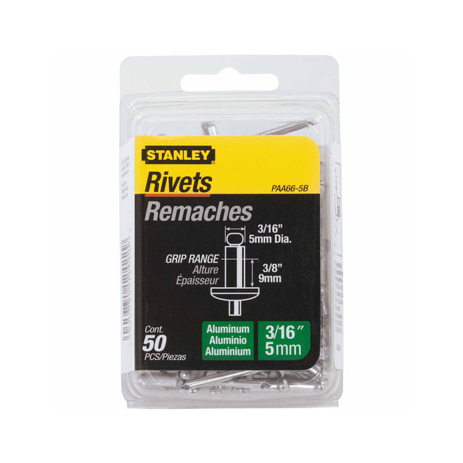 Medium Aluminum Rivets - 3/16'' x 3/8'' - 50/Pack