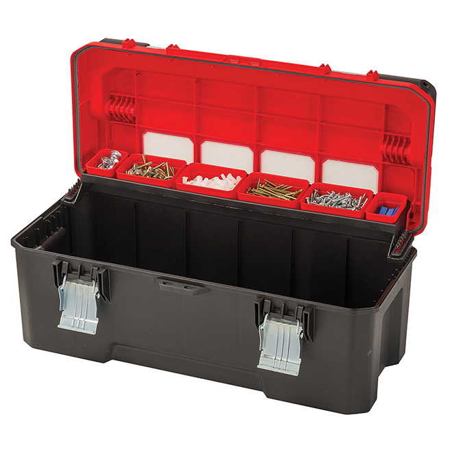 "Plastic Professional Tool Box - 26"" - Red and Black"