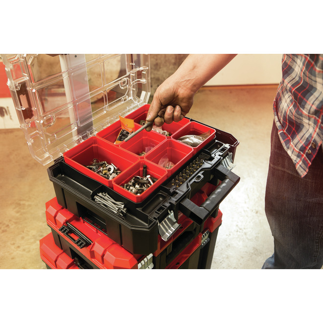 Portable Storage Tower - 3Boxes - Red and Black