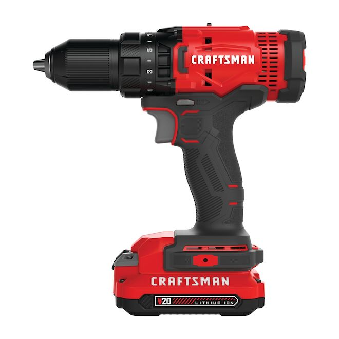 CRAFTSMAN Cordless Electric Drill - 20V MAX - Red and Black ...