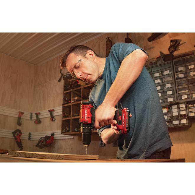 Ensemble de perceuse sans fil de 1/2 po V20 de Craftsman, 1500 tr/min, mandrin sans clé, deux vitesses