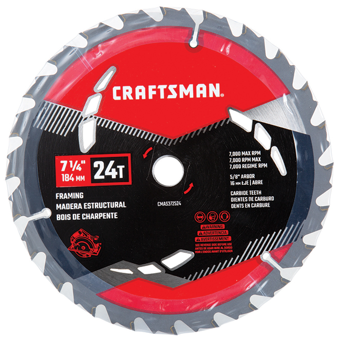 "Carbon Steel Circular Saw Blade - 71/4"" x 24Teeth"