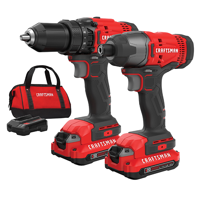 Jeu de 2 outils électriques sans fil, 20V MAX, rouge et noir