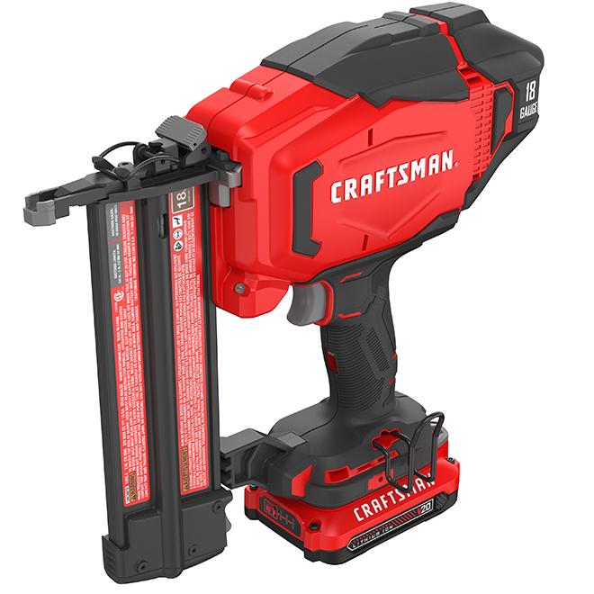 20V MAX Cordless Finish Nailer - 18-Gauge - Red and Black