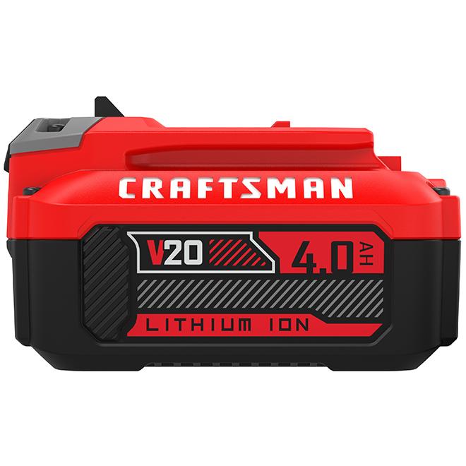 Batterie premium lithium-ion Craftsman 20 V 4Ah, indicateur de charge à 3 DEL, pas d'autodécharge