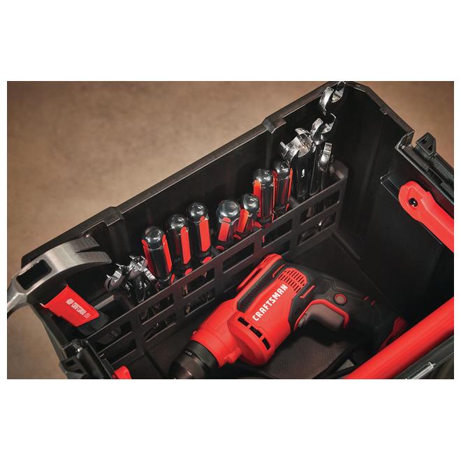 Coffre de rangement ouvert avec poignée, noir et rouge