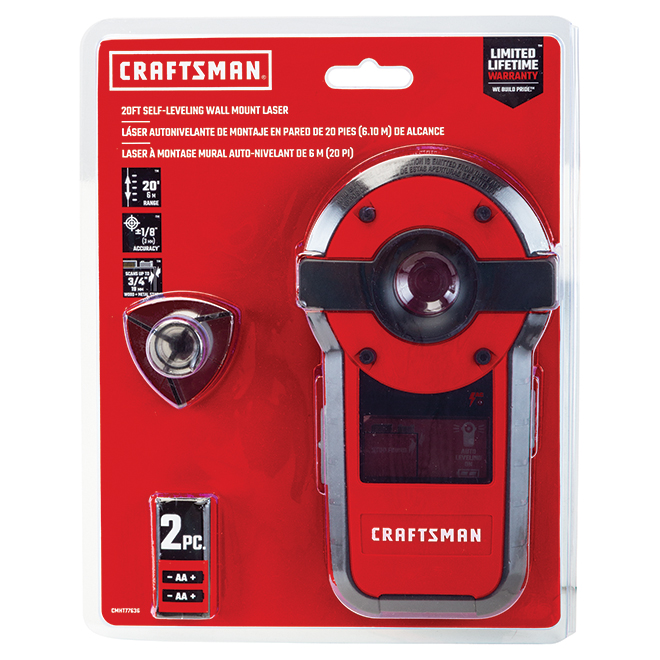 Self-Levelling Laser and Stud Sensor - 20' - Red and Black