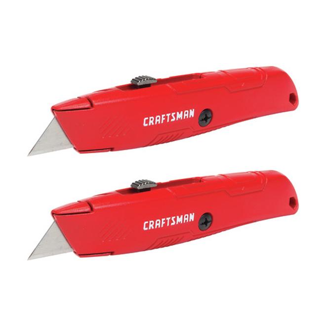 Couteau utilitaire rétractable, 3 positions, 6 lames, 2/pqt