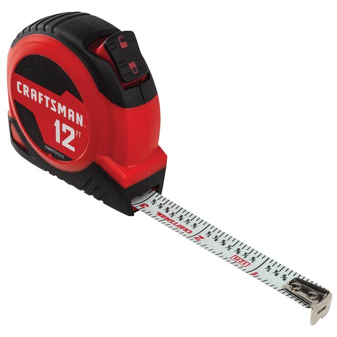 Ruban à mesurer autobloquant, 12', rouge