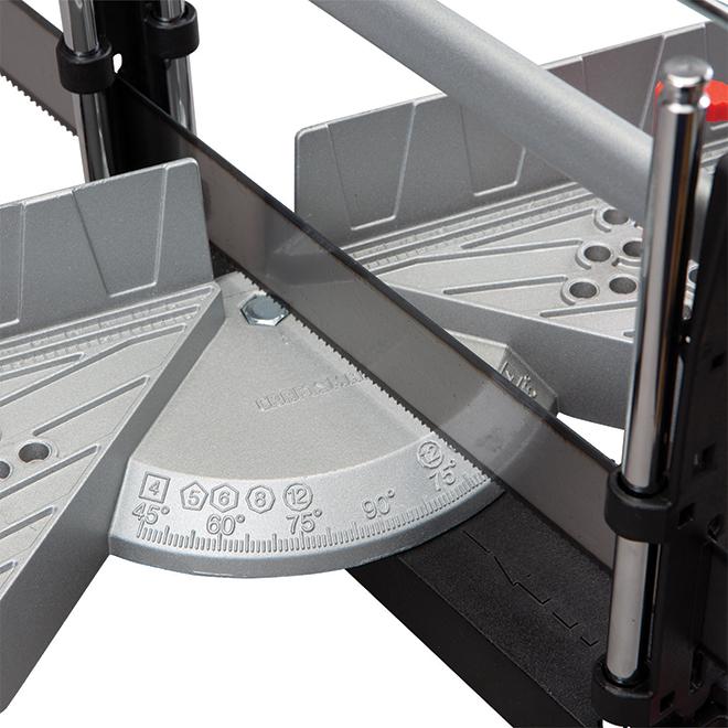 Boîte à onglets avec scie et serrage, angle réglable
