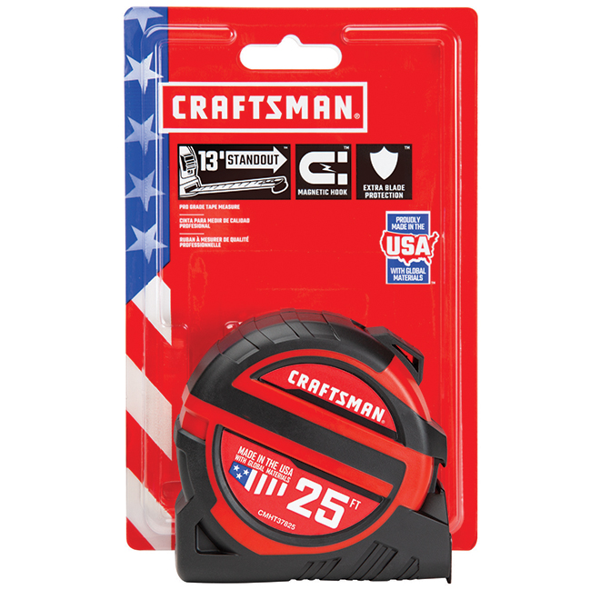 Magnetic PRO-13 Measuring Tape - 1.25'' x 25' - Red