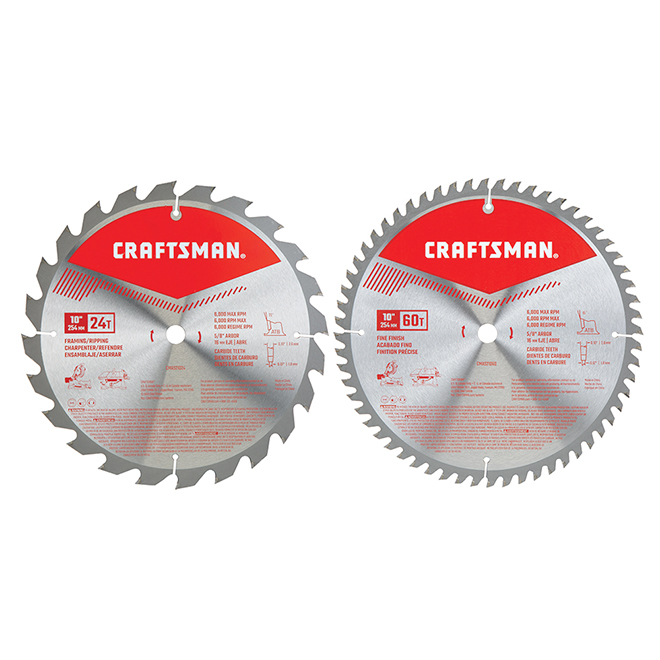 "Saw Blades - Carbide - 10"" - 24 and 60 TH - 2-Pack"