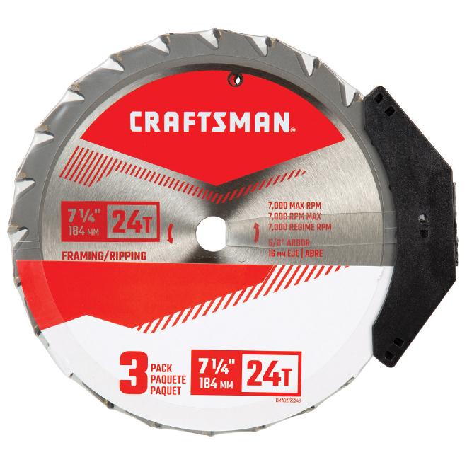 "Saw Blades - Carbide - 7 1/4"" - 24 TH - 3-Pack"