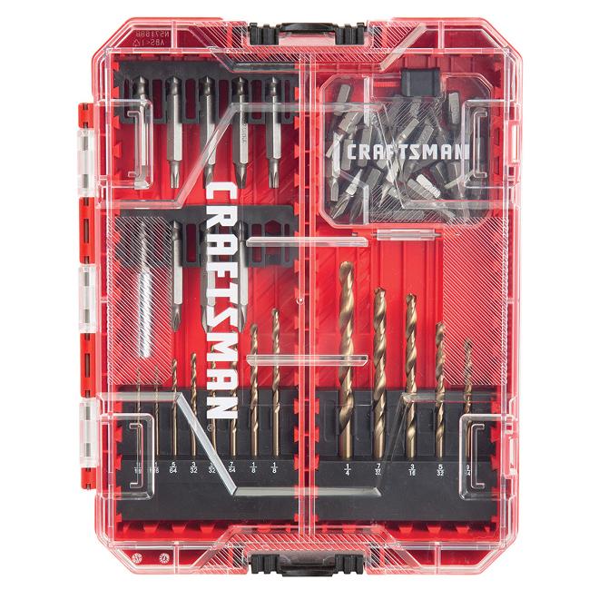 Jeu d'embouts et de forets Craftsman, 53 pièces, acier résistant aux chocs, types assortis, étui de protection rigide