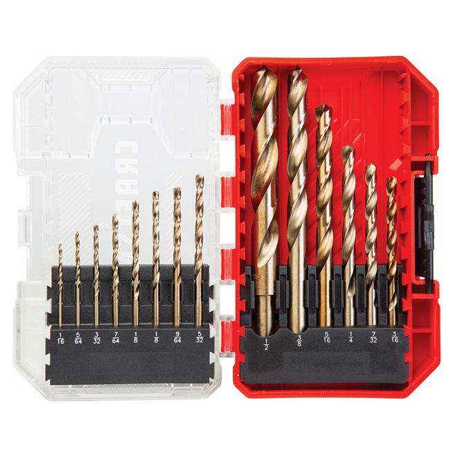 Set of 14Metal Drill Bits - Gold-Coated Black Oxide