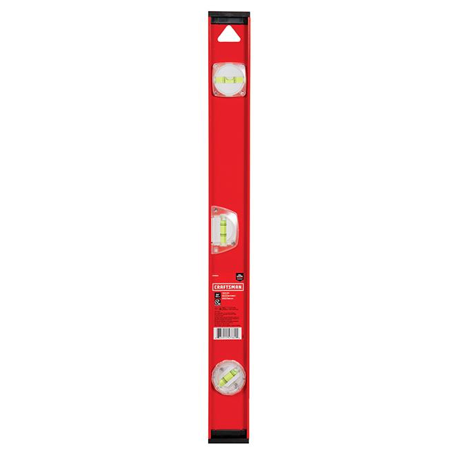 """I-Beam Level - 24"""" - 360° Vials - Aluminum - Red and Black"""