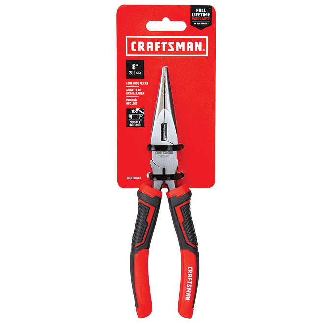 "Long-Nose Pliers - 8"" - Steel - Red and Black"
