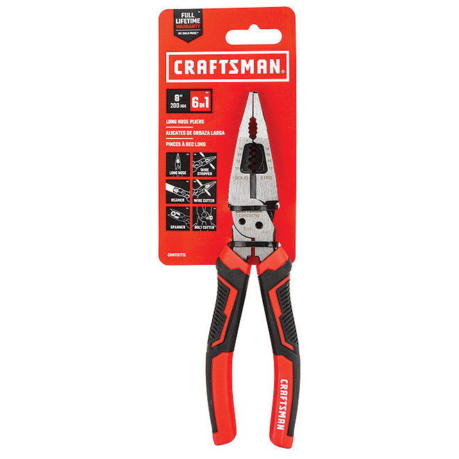 "Multifunction Tool - Steel - 6 in 1 - 8"" - Red and Black"