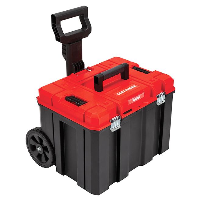 Unité de rangement sur roues, noir et rouge