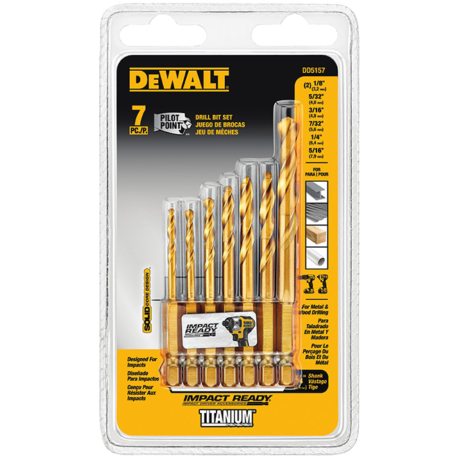 Steel Drill Bit Set - Impact Ready - 1/4'' - 7/Pcs