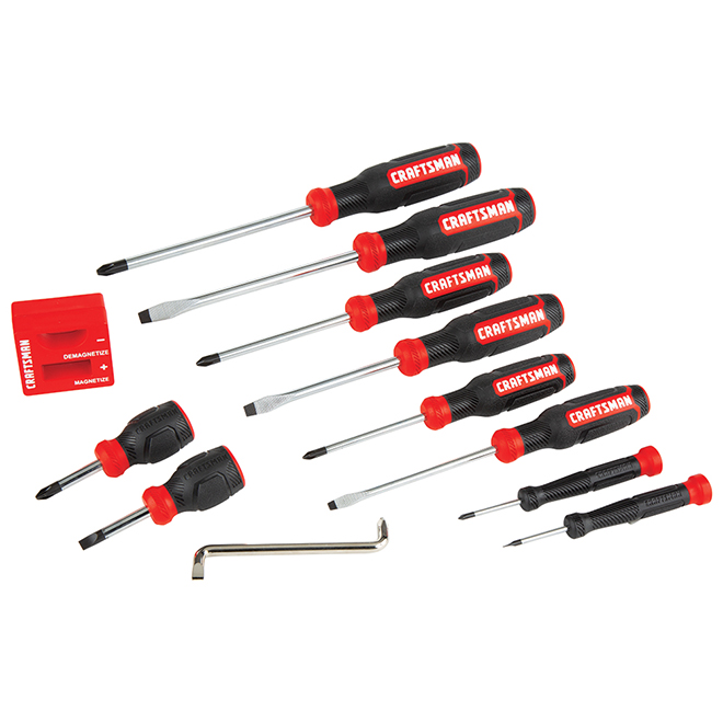 Bi-Material Screwdriver Set - Black and Red - 12/Pack