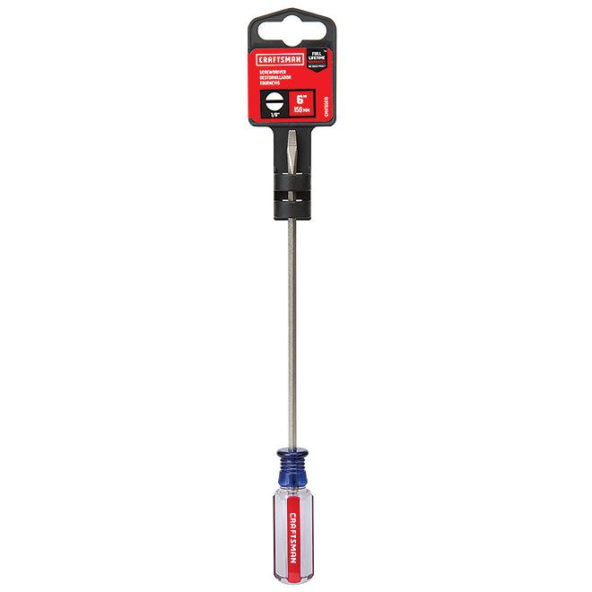 "Steel Flat Blade Screwdriver - 1/8"" x 6"" - Blue/Red"