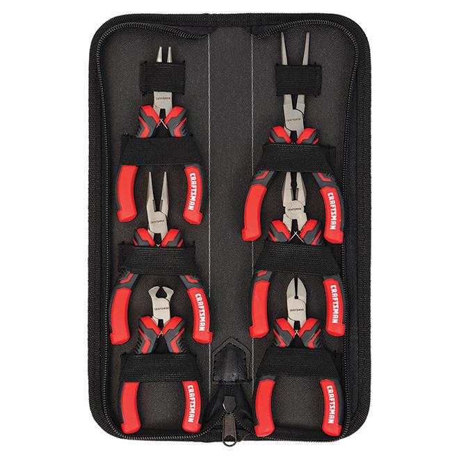 Pliers Set - Mini - Steel - Red and Black - 6/Pk