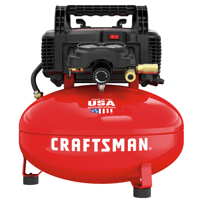 Oil-Free Compressor - 6Gallons - 150PSI - Red and Black