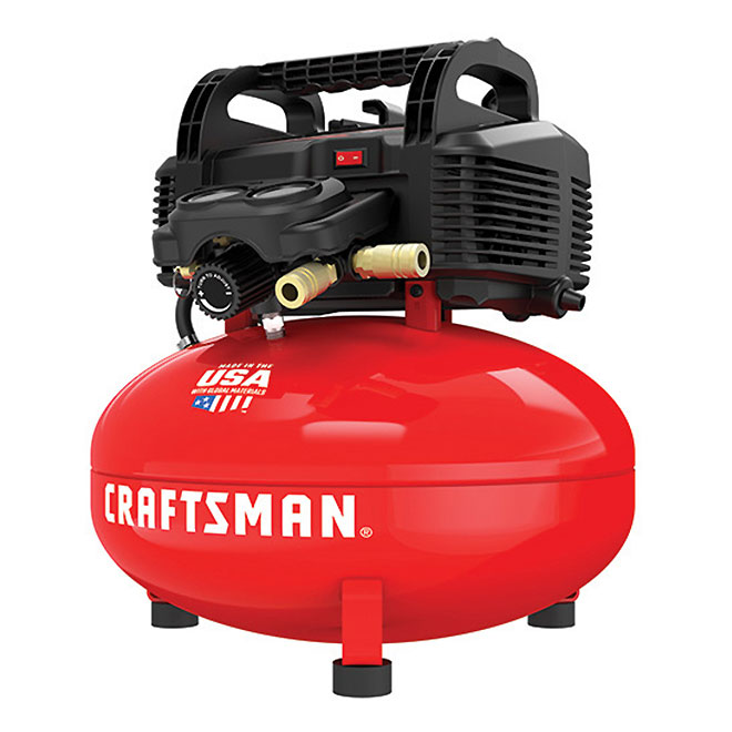 Oil-Free Compressor - 6 Gallons - 150 PSI - Red and Black