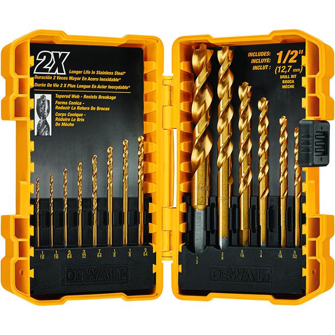 "Titanium Drill Bit Set - Pilot Point® - 1/16"" to 1/2"" - 14/PK"