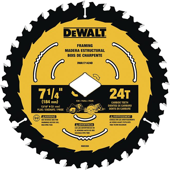 """DeWalt Carbide Circular Saw Blade - 24 TH - 7 1/4"""""""