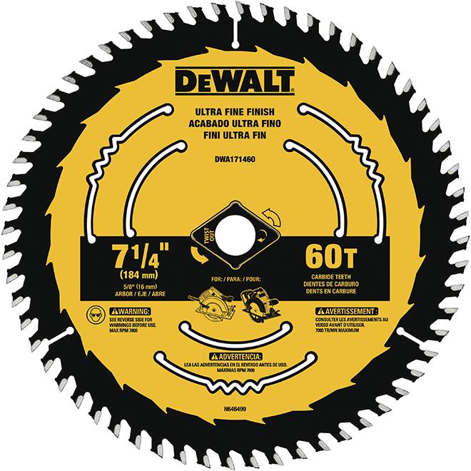 """DeWalt Carbide Circular Saw Blade - 60 TH - 7 1/4"""""""