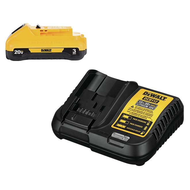 Ensemble de batteries et chargeur Dewalt, 20 V, 3,0 Ah, lithium-ion, indicateur à DEL, chargement rapide