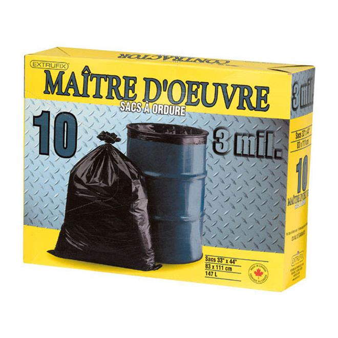 Sacs à déchets Maitre d'oeuvre 147 L, boite de 10